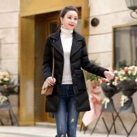 №【2019新款】冬天美女穿的2018新款动 感羽绒外套女士修身中长款西装领羽绒服