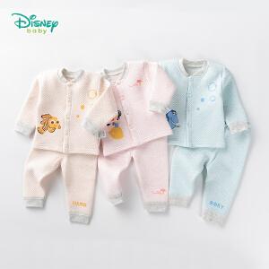 迪士尼Disney童装 男童套装冬季新款卡通夹棉保暖服女宝宝圆领螺纹可开档家居服184T850