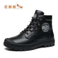 【领�涣⒓�150】红蜻蜓马丁靴女英伦风女鞋2019新款秋冬季加绒棉鞋短靴子