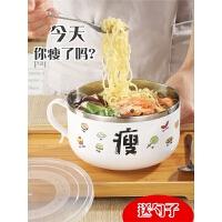 泡面碗带盖不锈钢日式学生饭盒可爱少女心单个宿舍方便面碗筷套装
