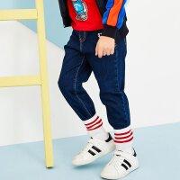 美特斯邦威旗下Moomoo童装男童牛仔裤中大童2018春季新品纯色休闲牛仔长裤