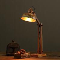 美式复古做旧铁艺台灯 家居样板房软装饰品摆件 卧室书房创意台灯摄影陈列影视道具