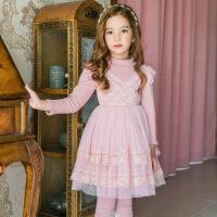 女童2018冬装连衣裙新款韩版儿童长袖洋气公主裙加厚加绒冬季裙子 粉红色