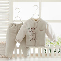 儿童棉衣套装婴儿幼儿加厚冬装男童女童棉袄棉裤冬季彩棉加厚款