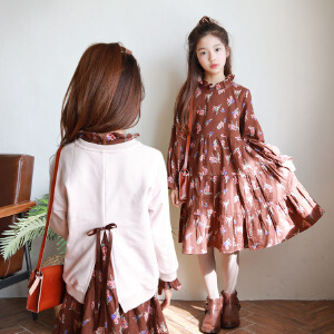 ST4289韩版女童两件套套装裙童长袖上衣童装田园公主女童秋连衣裙