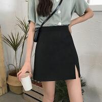 夏季2020新款高腰短裙A字�_叉一步半身裙包臀裙女小��子黑色裙子