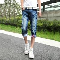 夏季短裤男薄款修身牛仔短裤男士破洞七分裤男短裤子男装夏天中裤