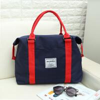 折叠旅行包女简约行李袋学生韩版手提包轻便行李包待产包健身包男 蓝色 大