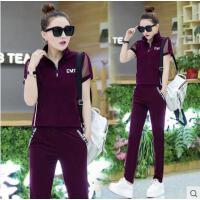 户外运动 套装女潮运动短装 韩版立领休闲两件套短袖长裤 新款衣服