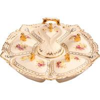 欧式干果盘陶瓷分格带盖糖果盒瓜子零食盘客厅茶几摆件创意孔雀 孔雀糖果盒