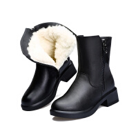 冬季女靴真皮羊毛靴中筒棉靴加绒加厚保暖妈妈鞋低跟雪地靴女真皮 黑色5831