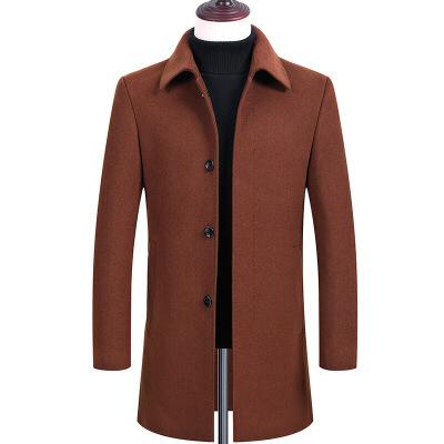 男士中年羊毛呢双排扣 中年秋冬双面尼羊绒大衣男士翻领中长款毛呢外套宽松