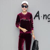 运动套装女秋2018新款时尚韩版长袖显瘦休闲服两件套 M 女