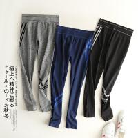 女装春装新款韩版超弹力修身侧边拼接条纹瑜珈健身慢跑运动裤