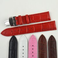 双拉不锈钢扣折叠扣牛皮真皮表带14-22mm男女手表配件