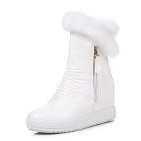 加绒棉鞋真皮白色短靴冬季短筒内增高靴子兔毛雪地靴女毛毛鞋女靴软底 白色 A款加厚毛里