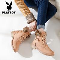 Playboy/花花公子女鞋2017冬季新款保暖雪地靴皮毛一体加长绒短靴 J165750628