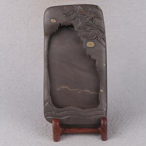 中国非物质文化遗产传承人群 钟景锐作品《竹报平安》砚 梅花坑