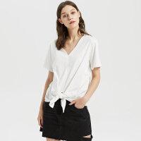 【2件2.5折到手价:71.25,4月10日0点】纯棉MECITY女装夏新品简约舒适V领针织打结束腰衬衫