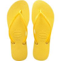 havaianas春夏新品女款时尚细带人字拖Slim平底防滑哈瓦那拖鞋淡黄色2531