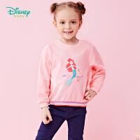 【129元3件】迪士尼Disney童装 女童肩开长袖卫衣春季新品美人鱼印花上衣撞色拼接191S1109