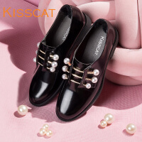 接吻猫2017秋新款小皮鞋珍珠鞋真皮舒适低跟深口单鞋DA87687-50