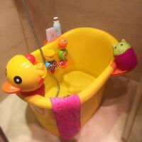 超大号儿童洗澡桶宝宝浴桶塑料泡澡桶婴儿浴盆小孩沐浴桶可坐加厚 大号+转转乐+向日葵