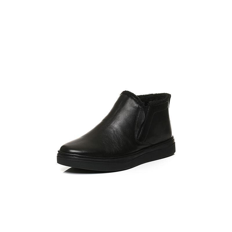 Belle/百丽冬季专柜同款黑牛皮革男休闲靴(绒里)4PC02DD6