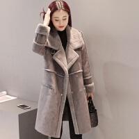 冬装新款大衣女加厚中长款韩版鹿皮绒羊羔毛呢外套女