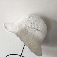 春夏帽子女士小礼帽黑色白色棉麻渔夫帽潮出游晒折叠遮阳帽