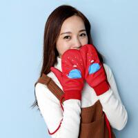 手套女冬可爱韩版卡通手套女冬天手套女学生全指加厚个性毛绒保暖