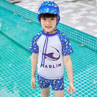 儿童泳衣男童温泉分体抗防晒速干男孩宝宝游泳衣小童泳裤帽套装