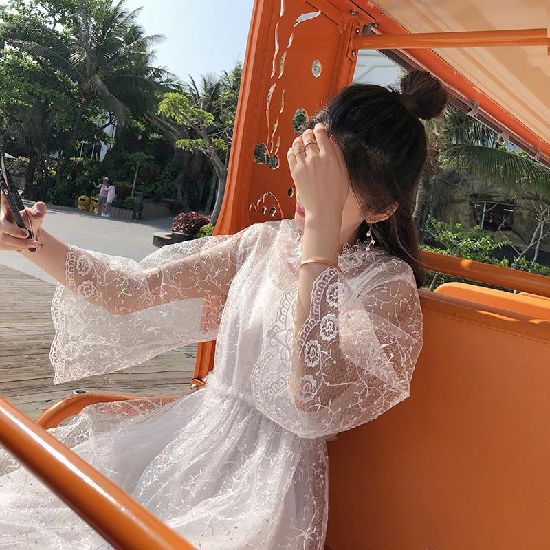 谜秀蕾丝连衣裙女2018春装新款韩版修身显瘦超仙两件套中长款裙子