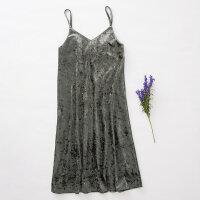 【2件2.5到手价:64】美特斯邦威复古连衣裙女休闲丝绒吊带裙修身气质裙子秋装新款