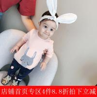 婴儿衣服秋季上衣0-1岁新生儿纯棉兔子绣花T恤女宝宝打底衫潮
