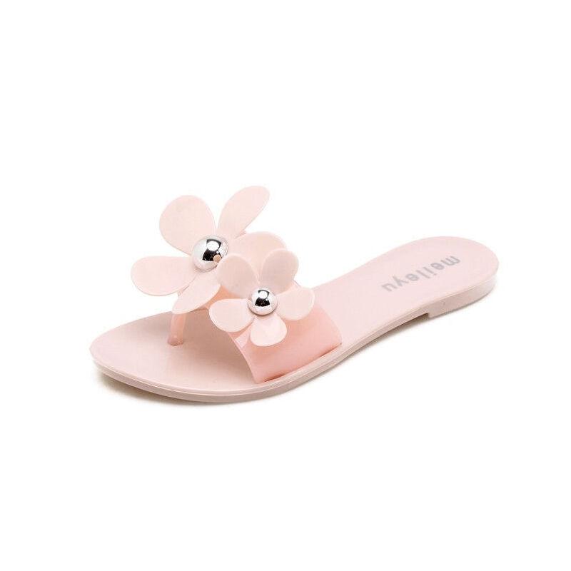 ELEISE美国艾蕾莎新品113-T1699甜美塑料平跟水钻花朵女士凉拖鞋