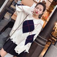 秋冬新款韩版气质拼色圆领套头针织衫+百褶短裙两件套时尚套装女