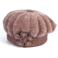 秋冬中老年女士帽子 兔毛线 妈妈老人 老年人奶奶 冬天 中年女帽 贝雷帽 均码有弹性