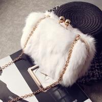 兔毛毛包包女新款潮韩版百搭链条夹子包单肩斜挎包手拿包