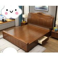 实木床1.8米中式胡桃木色双人床现代简约经济型高箱储物主卧婚床 白色床加200 大抽屉床加200 1500mm*190