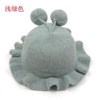 婴儿帽6-12个月秋冬季女宝宝套头帽男毛线护耳帽冬天保暖帽子 约6-18个月(建议头围43-46CM)