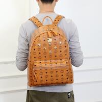 新款男女双肩包铆钉印花韩版时尚休闲书包旅行包大小妈咪背包