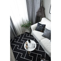 欧式潮牌简约黑白客厅茶几地毯卧室床边地垫现代长方形沙发进门垫r 乳白色 简约线条Z