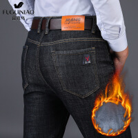 士牛仔裤加绒中年直筒裤爸爸宽松冬季商务休闲裤子厚款