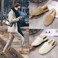 毛毛鞋女冬外穿2019年新款韩版百搭平底棉鞋网红豆豆鞋加绒女鞋子