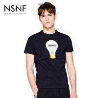 NSNFLOGO立体灯泡纯棉圆领黑色修身男T恤 2017新款 设计师潮流男装 修身圆领针织短袖