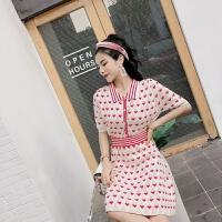 套装女夏2018韩版俏皮短袖修身翻领单排扣上衣+高腰针织半身裙潮 粉色 均码