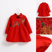 新年装秋冬季童装花朵蕾丝女童宝宝加绒厚连衣裙子儿童公主裙
