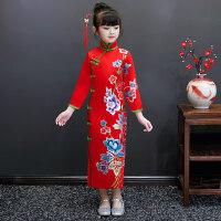 女童旗袍秋冬2018新款宝宝唐装儿童拜年服大童过年装中国风洋气女 红色