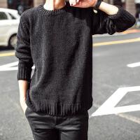 №【2019新款】小伙子穿的新款圆领厚毛衣男韩版修身黑色粗针毛衣男潮流针织衫打底毛衣